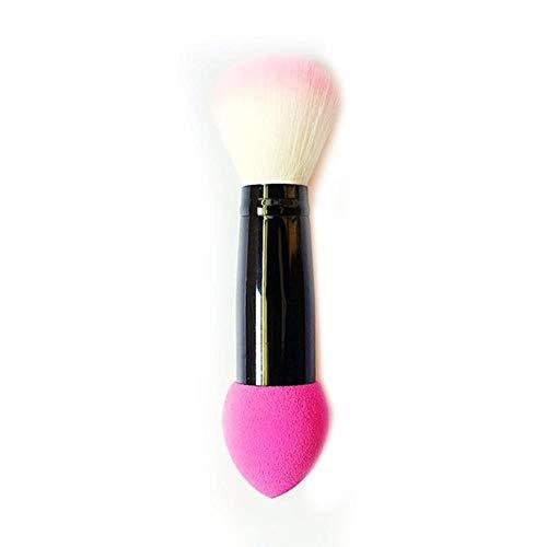XTR Professionnel Blusher Brush 2 Têtes Nylon Brosses de Maquillage Deux Tête Métal Outils Cosmétiques avec Éponge Rose Couleur 1 pc, Rose