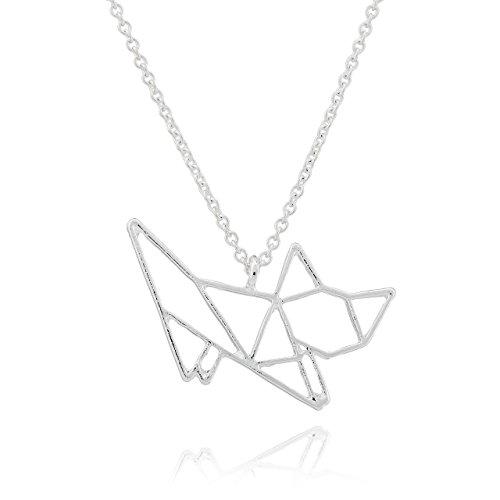 Selia Origami Katzen Halskette Kitty Kette Statement minimalistisch Cat handgemacht (Kitty Silber)