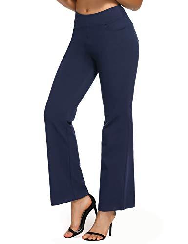 SEVEGO Pantalones de Yoga Bootcut para Mujer con 4 Bolsillos, 74cm/78cm/84cm/90cm Entrepierna, Pequeño/Regular/Alto Pantalón Lounge Workout