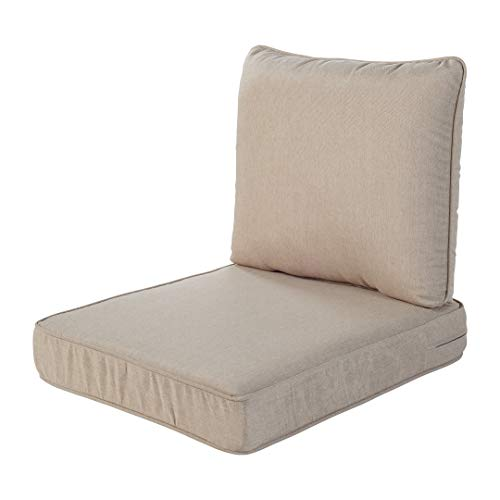 Quality Outdoor Living 29-BG23SB 29-BG02SB All-Weather Deep Seating Chair Cushion, 23 x 26, Beige
