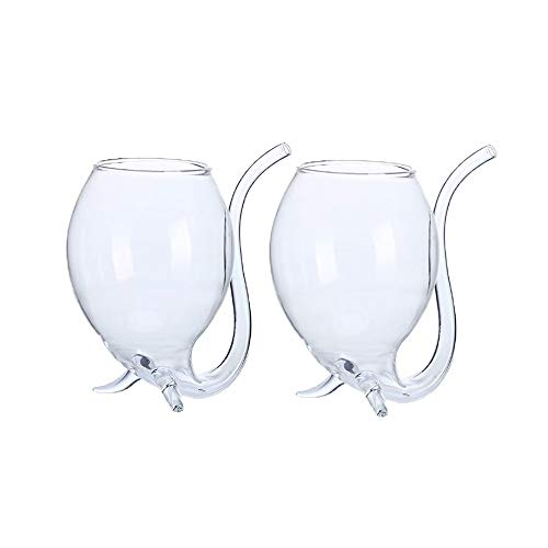 Vampire Glass Cup with Built-in Straw for Juice, Wine (300ml/10oz) - 2 Pack