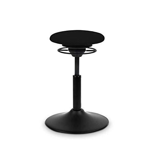 BALIMO Classic, Bürohocker, Sitzhocker, ergonomischerRücken-Trainer, Standfußschwarz matt, Bezug schwarz