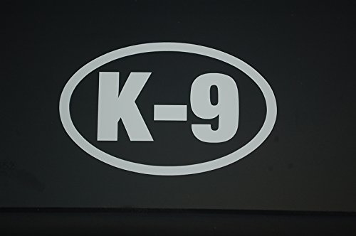 Five Star Graphics K9 Oval Sticker Vinyl Decal CHOOSE COLOR & SIZE!! K-9 On Board Service Dog (V550) (5' X 3', Silver)