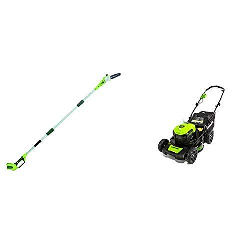 Greenworks 8' 40V Cordless Pole Saw, Battery Not Included 20302 with 20-Inch 40V Brushless Dual Port Lawn Mower, Battery and Charger Not Included MO40L00