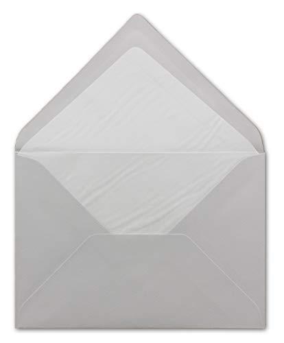 50 DIN B6 koperty jasnoszare z białą jedwabną podszewką - 12,5 x 17,6 cm - 100 g/m² klejenie na mokro prążkowane koperty bez okienka od Twojego agenta szczęścia xxx.