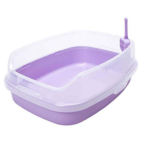 hkwshop Caja de Arena Lavadero for Gatos Inodoro Grande for Gatos Semicerrado Desmontable Cat Sand Basin Suministros for Mascotas Gran Espacio Sanitario Gato (Color : Purple)