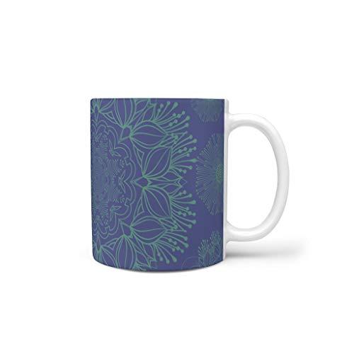 O2ECH-8 11 oz Stahl Blau Mandala Wasser Tee Tasse mit Griff Glatte Keramik Personalize Tassen - Klassenkamerad, Büro verwenden White 330ml