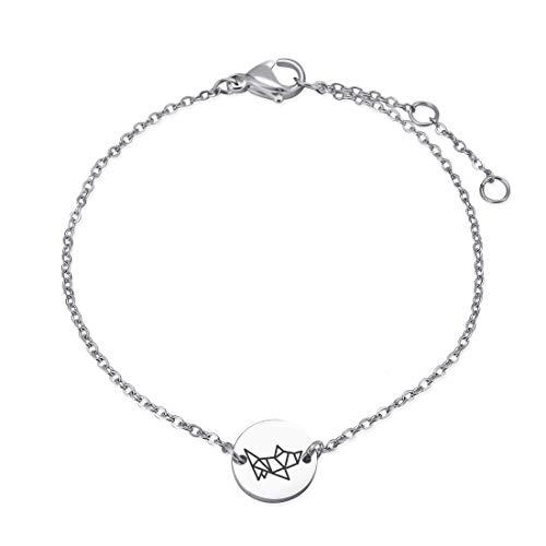 NA Women Lovely Animal Link Bracelet Stainless Steel Chain Bracelet for Girls Simple Disc Charms Bracelet (Rabbit)