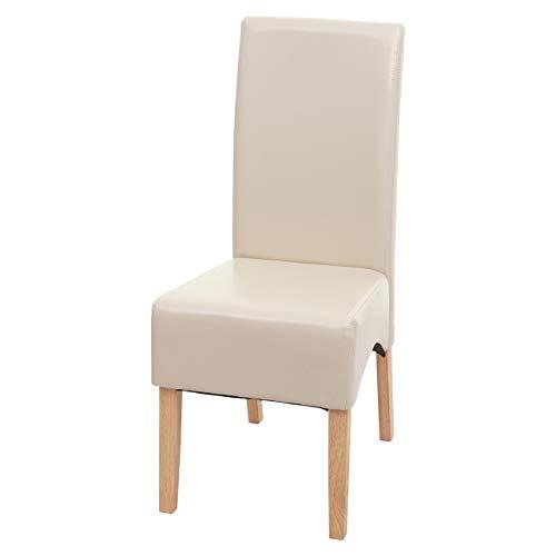 Mendler Esszimmerstuhl Latina, Küchenstuhl Stuhl, Leder - Creme, helle Beine