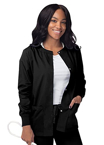 SIVVAN Scrubs for Women - Front Snap Warm - Up Jacket - S8306 - Black - L