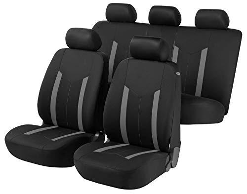 Walser Auto Sitzbezug Hastings, Schonbezüge Auto, Komplettset, 2 Vordersitzbezüge, 1 Rücksitzbezug schwarz/grau 11807