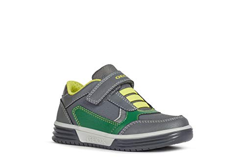 Geox Jungen Sneaker ARGONAT Boy, Kinder Low-Top Sneaker,lose Einlage, Halbschuh sportschuh Klettschuh Klett-Verschluss,DK Grey/Green,33 EU / 1 UK
