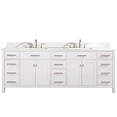 """LUCA Kitchen & Bath LC84PWW Tuscan 84"""" Double Bathroom Vanity Set in Pure White Quartz Top with Gray Veins and Sink"""