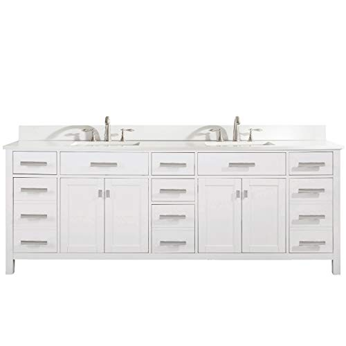 Luca Kitchen Bath Lc84pww Tuscan 84 Double Bathroom Vanity Set In Pure White Quartz Top With Gray Veins And Sink Buy Online In Guernsey At Desertcart 176903958