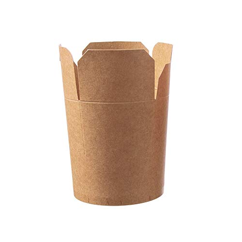 500 Nudelboxen Asiaboxen Snackboxen Foodboxen Pastaboxen Dönerboxen Pappe Hartpapier braun unbedruckt PE beschichtet 16oz ca. 500ml - Inkl. Verpackungslizenz in D.