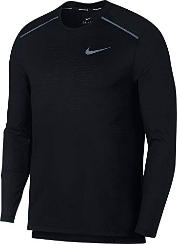 Nike M NK BRTHE Rise 365 LS T-Shirt à Manches Longues Homme, Black/Reflective Silv, FR (Taille Fabricant : XL)