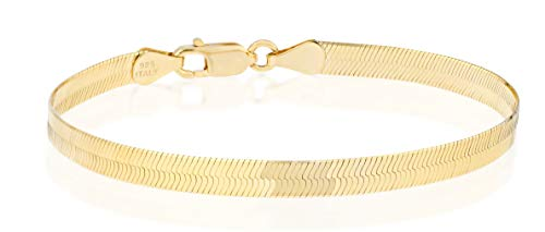 "Miabella 18K Gold Over 925 Sterling Silver Italian Solid 4.5mm Flexible Flat Herringbone Link Chain Bracelet for Women Men 6.5, 7, 7.5, 8 Inch Made in Italy (7.0 Inches (6""-6.25"" Wrist Size))"