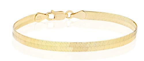 Miabella 18K Gold Over 925 Sterling Silver Italian Solid 4.5mm Flexible Flat Herringbone Link Chain Bracelet for Women Men 6.5, 7, 7.5, 8 Inch Made in Italy (7)