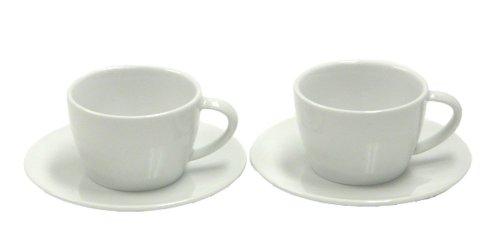Jura 66501 2-er Set inklusive Unterteller weiß Cappuccinotassen, Porzellan, 9 cm cm, 2-Einheiten