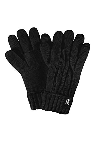 HEAT HOLDERS Neu! Womens Wärmehalter Weaver Thermal-Handschuhe mit Zopfmuster (Small/Medium, Schwarz)
