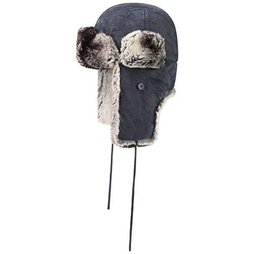 Stetson Gorro de Aviador Dakano Pigskin Hombre/Mujer - Ushanka chapka con Orejeras, Forro, Tira para el mentón otoño/Invierno - M (56-57 cm) Azul