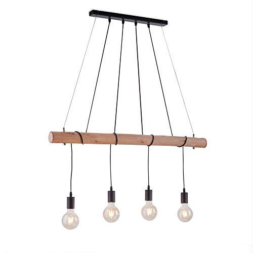Pendelleuchte Vintage aus metall & Holz | Rustikale Hängelampe in Schwarz/Braun, Industrial Pendellampe | Moderne Hängeleuchte 4-flammig, Retro-Look (E27 ohne Leuchtmittel)