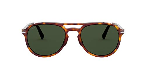 Persol PO3235S Pilot Sunglasses, HAVANA/GREEN, 55mm