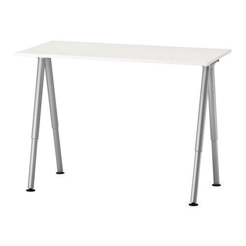 Ikea Thyge - Escritorio ajustable, color blanco, plata, con fieltro