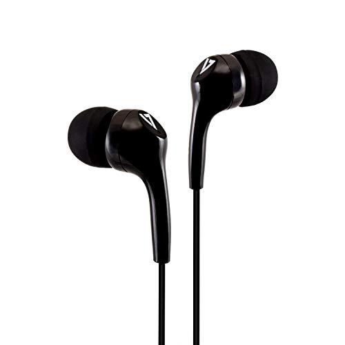 V7 HA105-3EB Mobiles Headset Binaural im Ohr Schwarz - Mobile Headsets (Verkabelt, im Ohr, Binaural, Im Ohr, 20-20000 Hz, Schwarz)