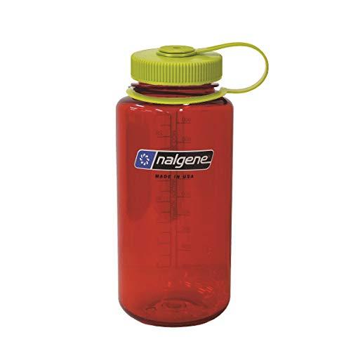 Nalgene Tritan Wide Mouth BPA-Free Water Bottle, 32 Oz, Red w/Green