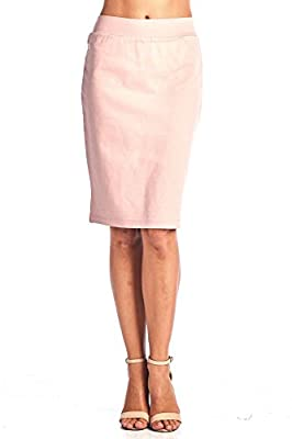ReneeC. Women's Bodycon Fitted Elastic Waist Midi Office Skirt