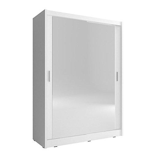 Mirjan24 Kleiderschrank Fibo 130, mit 2 Spiegel, Schlafzimmerschrank, 130 x 200 x 62 cm, Elegantes Schwebetürenschrank für Schlafzimmer, Jugendzimmer, Schiebetür (Weiß)