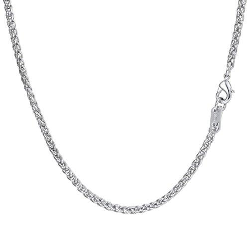 PROSTEEL Chaîne Homme Acier Inoxydable Collier à Mailles Spiga 3mm de Large Bijoux Tendance Link Chain Necklace pour Garçon - 46cm de Long - Couleur Argent