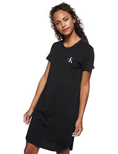 Calvin Klein Damen S/s Nightshirt Nachthemd, Schwarz (Black 001), X-Small