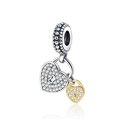 Pandora 925 colgante de plata esterlina Diy corazón candado cuelga con circonita transparente Cuentas europeas Fit Europe Charm Pulseras y brazaletes originales y collares encantos