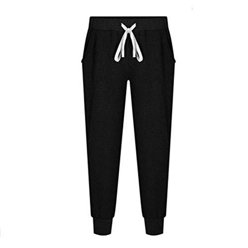 EverNight Pantalones De Chándal para Mujer, Fondos De Entrenamiento Deportivo De Cintura con Cordón, Jogger Pantalones De Yoga con Bolsillos,Negro,4XL