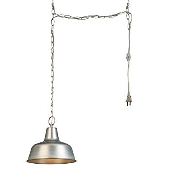 Design House 579409 Mason 1-Light Adjustable Ceiling Mount Hanging Pendant with a Farmhouse Style, Swag, Galvanized