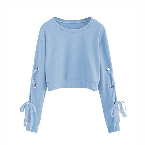 Frauen Sweatshirt,Teenage Mädchen Casual Lace Up Langarm Pullover Crop Top Moginp (S, Blau)