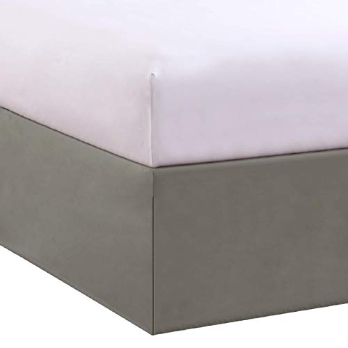 """Levinsohn Bed Maker's Tailored Wrap-Around Bedskirt Never Lift Your Mattress Classic 14"""" Drop Length Pleated Styling, Twin, Soft Silver"""