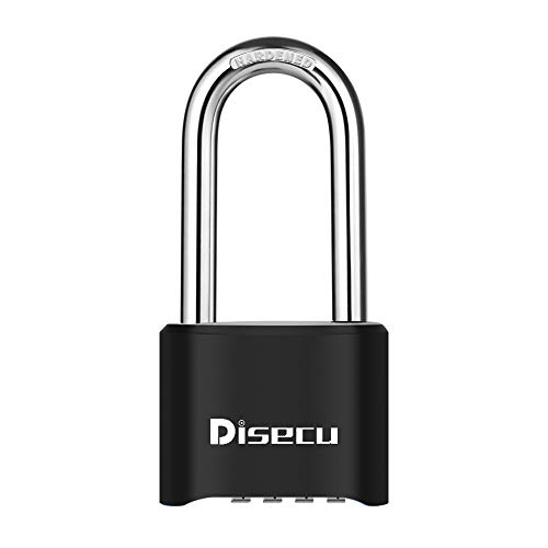 Disecu Heavy Duty 4 Digit Combination Lock 2.5 Inch Long Shackle Outdoor Waterproof Padlock for Gate, Fence, Gym Locker, Bike (Black)