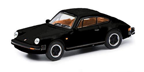 Schuco 452656300 Porsche 911 3.2, Carrera, Coupé Version, con Interno Marrone, modellino Auto, Scala 1:87, Nero