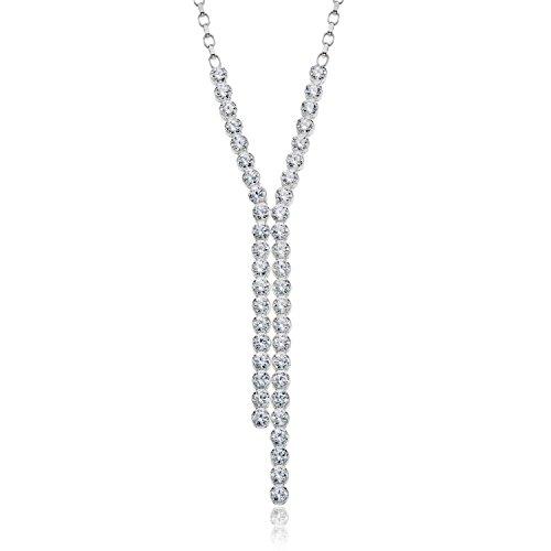 LillyMarie Damen Feine Halskette Echt Silber Swarovski Elements Kristalle Strass Glänzend Klar Längen-verstellbar Schmuck-Beutel Hochzeitsschmuck