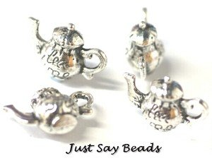 *PLUS... ANOTHER PACKET FREE!!* 4 x Antique Silver Plated 3-D Teapot Charms (inscribed 'TEA TIME') - Jump Rings included for attachments. Universal use for Jewellery, Card Making and Scrap-booking. Check out our Fantastic wide range of Beads, Charms and Findings (Ref:10B18)