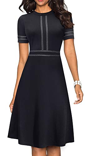 HOMEYEE Women's Chic Crew Neck Party Homecoming Aline Dress A135 (10, Black-Short Sleeve)