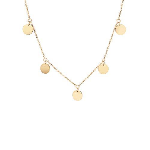 MENDOZZA Plättchen Hals-Kette 5 Coin Ketten-Anhänger Edelstahl 18 Karat Damen-Schmuck Silber Gold Rosegold Münzen 46 cm (Gold, 46)