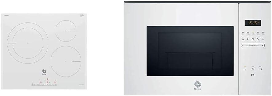 Balay 3EB965BU Placa de inducción, Blanco, Vidrio, 1400 W +, 3CG5172B0 Microondas integrable Serie Cristal, 20L, 800W, Grill 1000W, Control táctil, Color blanco