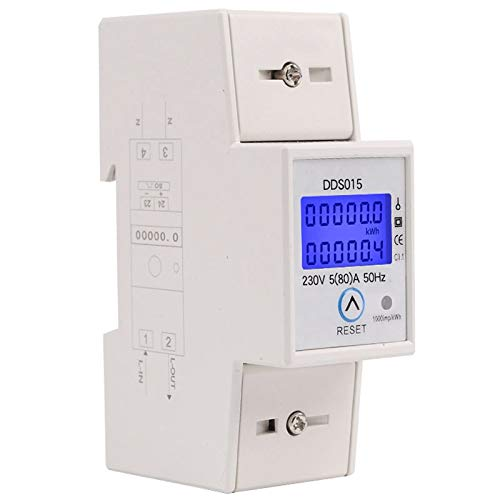 XZANTE Rail din Monophasé Wattmètre Consommation Electrique en Watts Compteur d'énergie Electronique kWh 5-80A 230V AC 50Hz avec Fonction de Réinitialisation