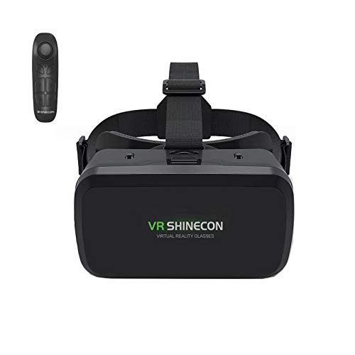 """FAMEWARE VR Headset with Remote Controller Compatible with iPhone & Android-3D Glasses Goggles HD Virtual Reality Headset for Kids & Adults, Eye Protected Adjustable Distance for 4.7-6.53"""" Phones"""