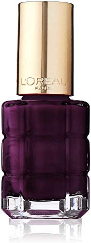 L'Oréal Paris Color Riche Le Vernis Nagellack mit Öl in Dunkelgrau / Pflegender Farblack in kräftigem Grau mit Glanz-Effekt /# 556 Grenat Irrevere / 1 x 14ml