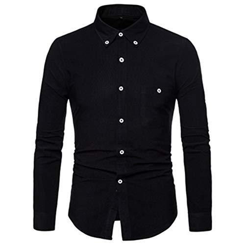 Mr.BaoLong&Miss.GO otoño nuevos Hombres de Gran tamaño Camisa de Manga Larga Camisa de Pana Camisa Casual Camisa de Color sólido para Hombres
